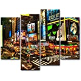 So Crazy Art 4 Piece Wall Art Painting City Night Broadway Street Pictures Prints On Canvas City The Picture Decor Oil For Home Modern Decoration Print