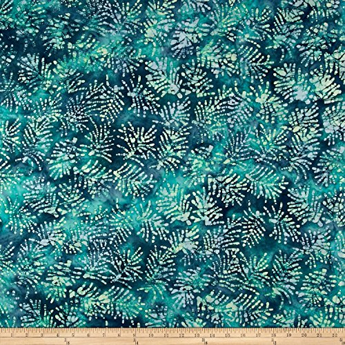 Textile Creations Indian Batik Moody Fern Leaf Blue/Green Fabric by The Yard