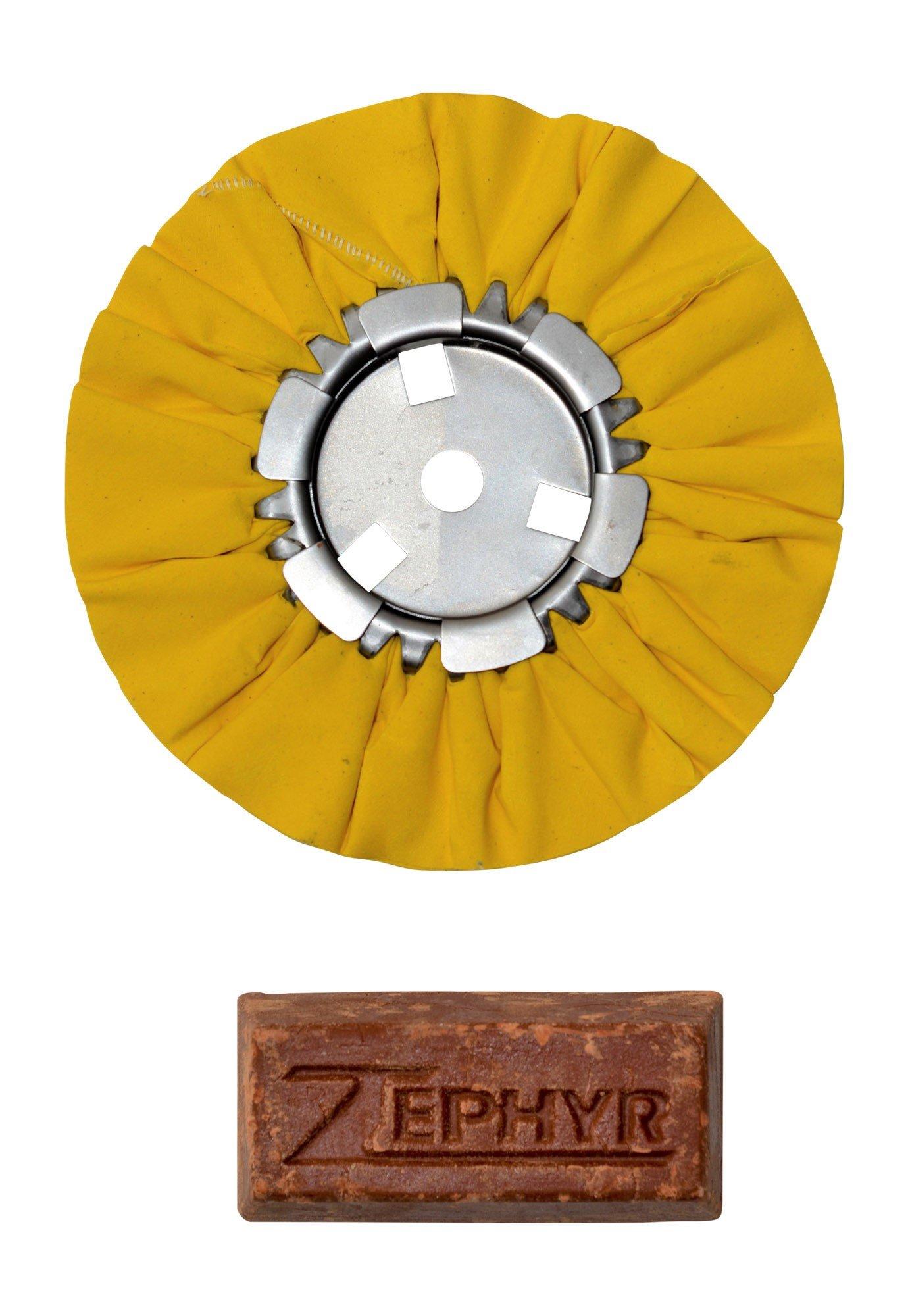 Zephyr AWY58-8WB Yellow 8'' Airway Buffing Wheel with 1 LB Tripoli Bar Heavy/Medium Cut