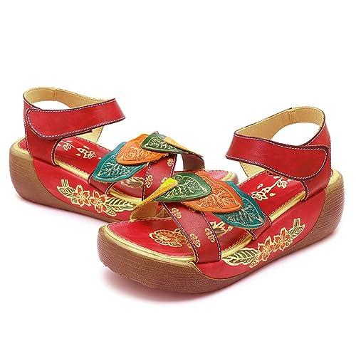 4160477eb22b4d Socofy Women Sandals Summer Leather Platform Wedges Sandals Hollow Out Open  Toe Shoes Hook Loop Flower Ankle Strap Shoes Flat Shoes Folkways Vintage  Sandals