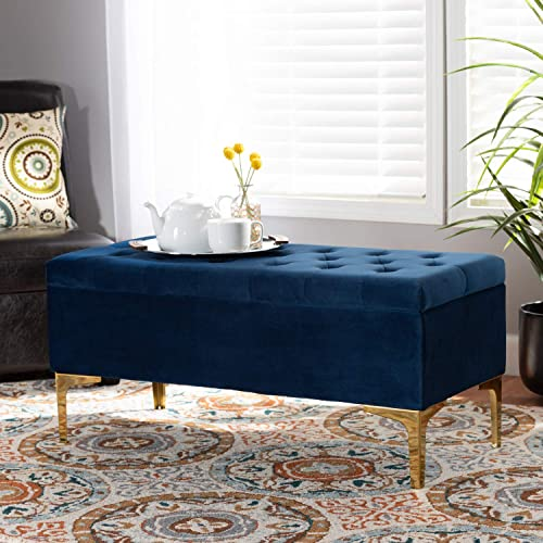 Baxton Studio Valere Glam and Luxe Navy Blue Velvet Fabric Upholstered Gold Finished Button Tufted Storage Ottoman