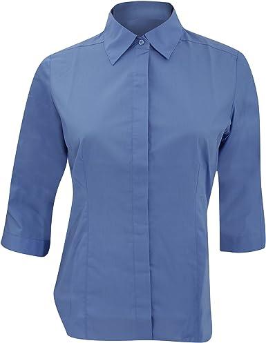 Russell Collection- Camisa entallada de manga tres cuartos de popelín y fácil cuidado de poliéster y algodón para mujer: Amazon.es: Ropa y accesorios