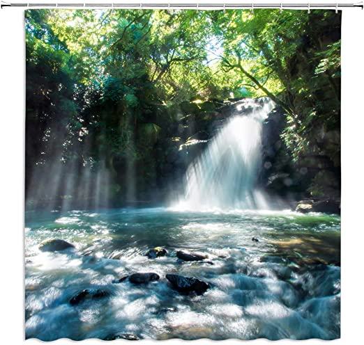 Amazon Com Boyian Forest Waterfall Shower Curtain Decor Rainforest Foggy Rocky Lake Sunlight Beam Through Woods Summer Scenery Green Fabric Bath Curtains Bathroom Polyester With Plastic Hooks 70x70 Inch Home Kitchen