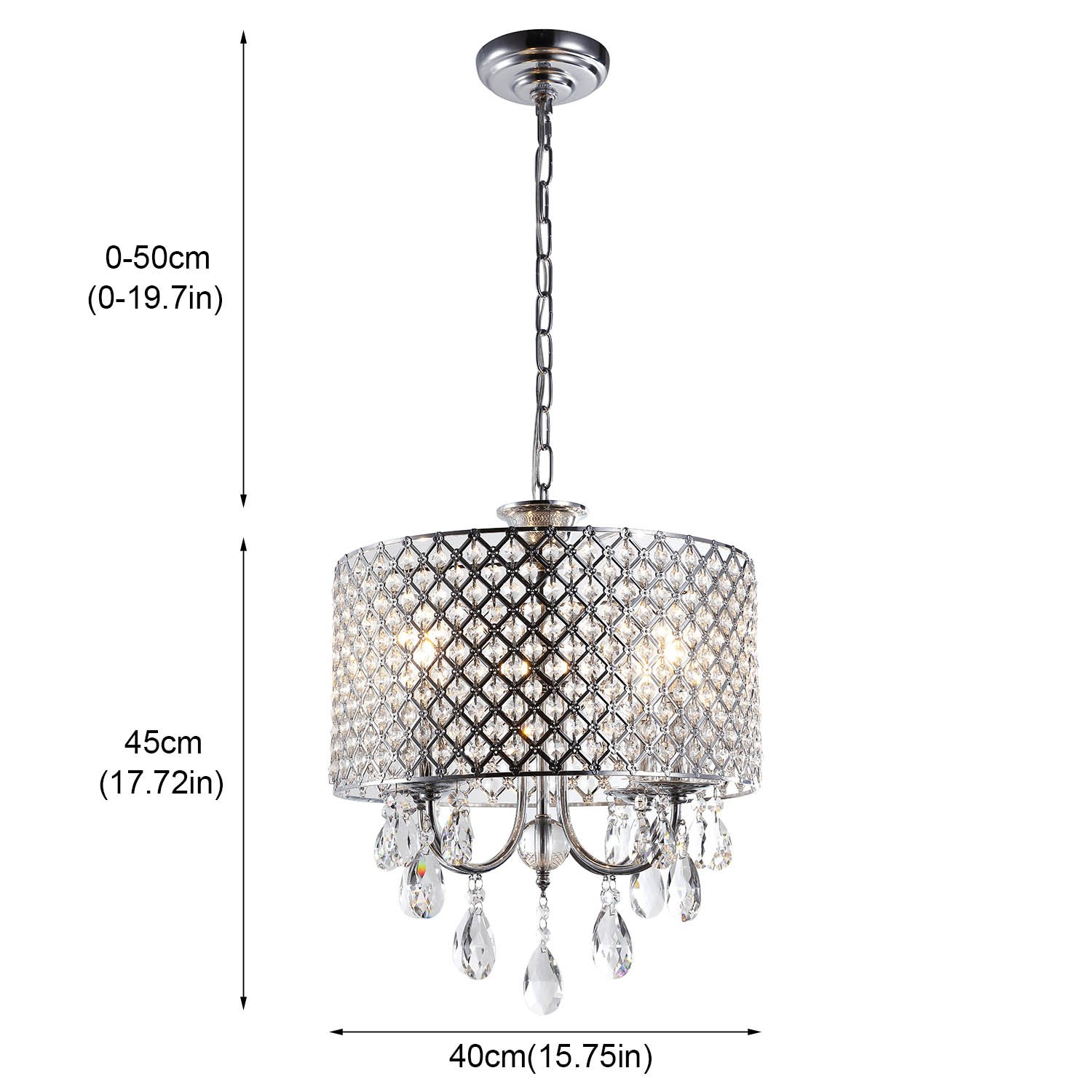 Create for life 4 lights crystal chandelier pendant light ceiling create for life 4 lights crystal chandelier pendant light ceiling light fixture chromed finish amazon arubaitofo Images