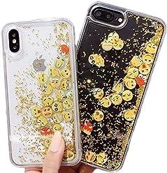 Emoji Clear Dynamic Liquid Quicksand Glitter Silicone Protector Case Gel Cover ~ Estuche Fundas Forros Cobertor