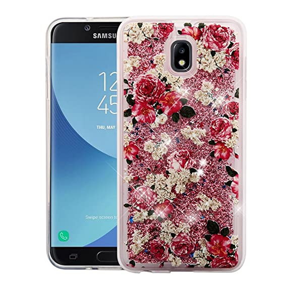 b500eccb4b2 Cellphone Case for Samsung J7 (2018) - Sparkling Floating Chrome Glitter  Quicksand Design Case