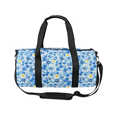 ec67e57ebf MUOOUM Daisy Blue Pattern Sports Gym Bag Travel Duffel Bag for Women and  Men Luggage Handbag