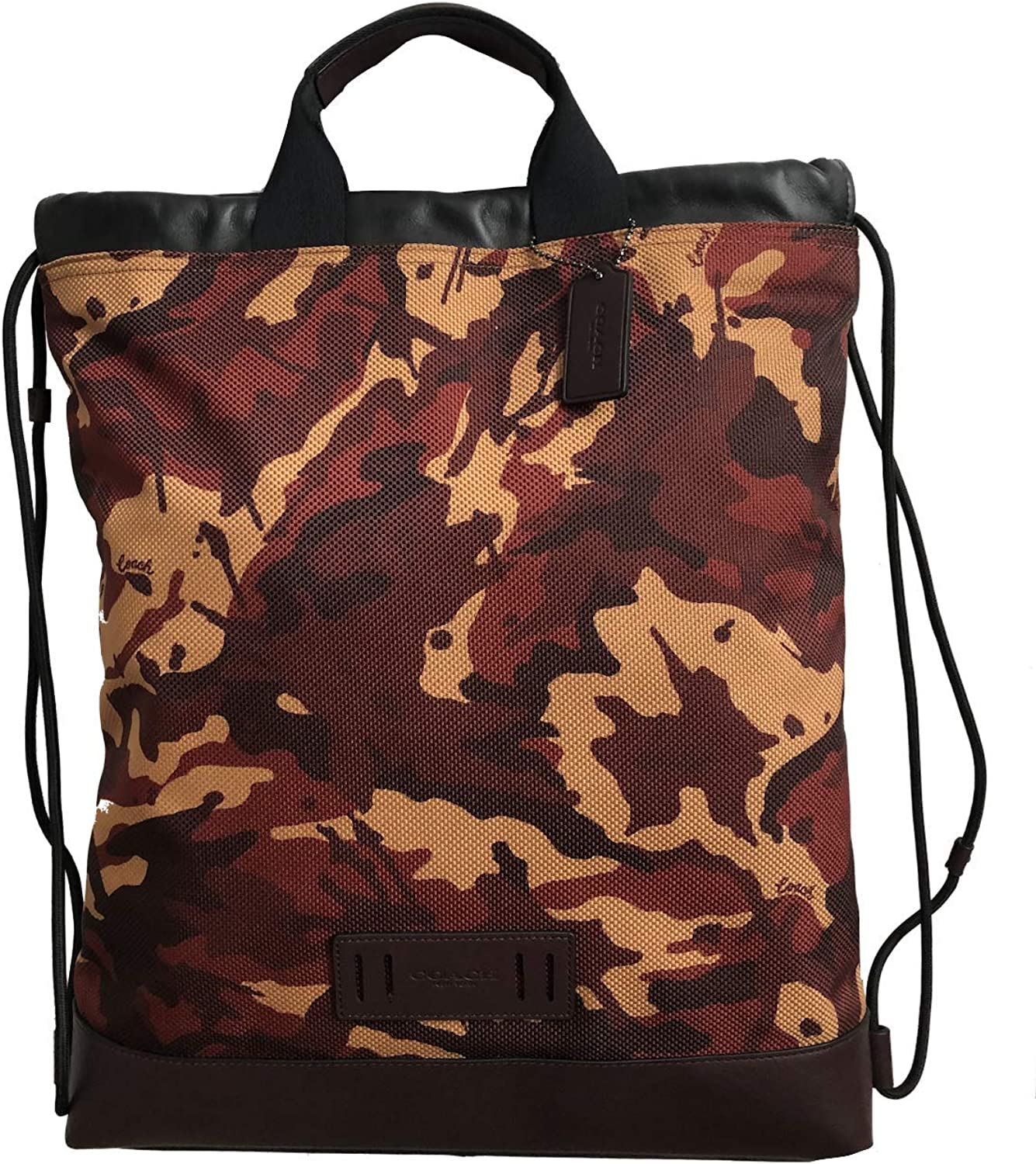 Image of Coach Men's Terrain Drawstring Slim Backpack Bag in QB Rust Camo, Style F76784. Drawstring Bags