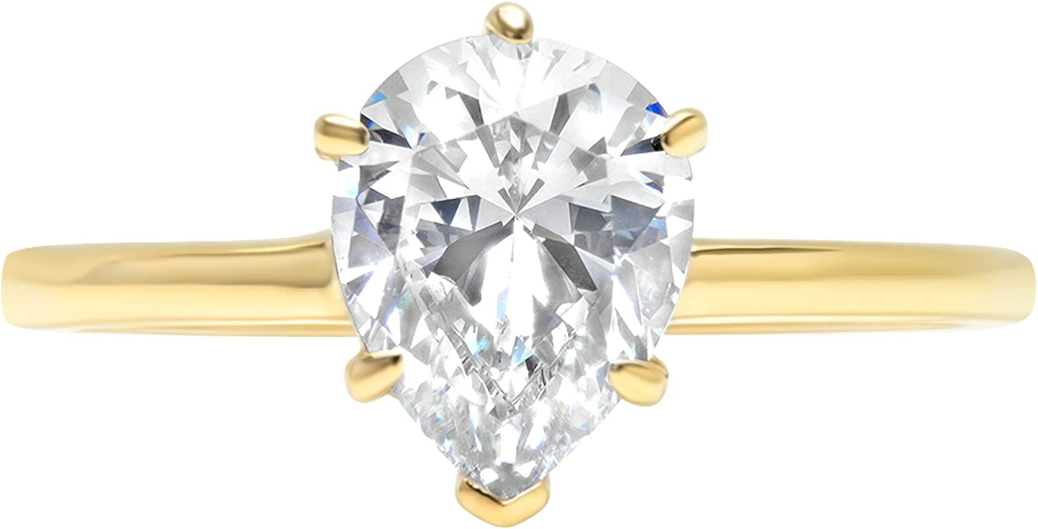 Clara Pucci 2.1ct Oval Brilliant Cut Simulated Diamond Classic Solitaire Designer Statement Ring Solid 14k Yellow Gold for Women