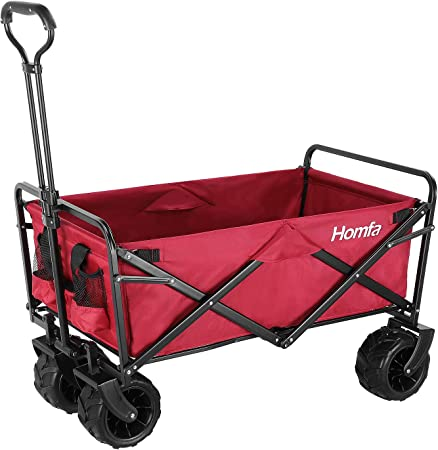Homfa Carro Transporte Plegable Carro de Mano Carro para Playa Jardín con 4 Ruedas Rojo Oscuro 90x59x55.5cm: Amazon.es: Hogar