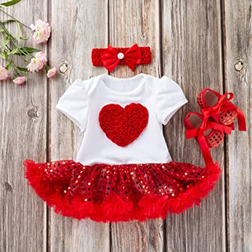 4590633b5 Jshuang 3 Pcs Valentine's Day Dress Girls Short Sleeve Heart Sequins Love  Paillette Dresses Shoes Outfits