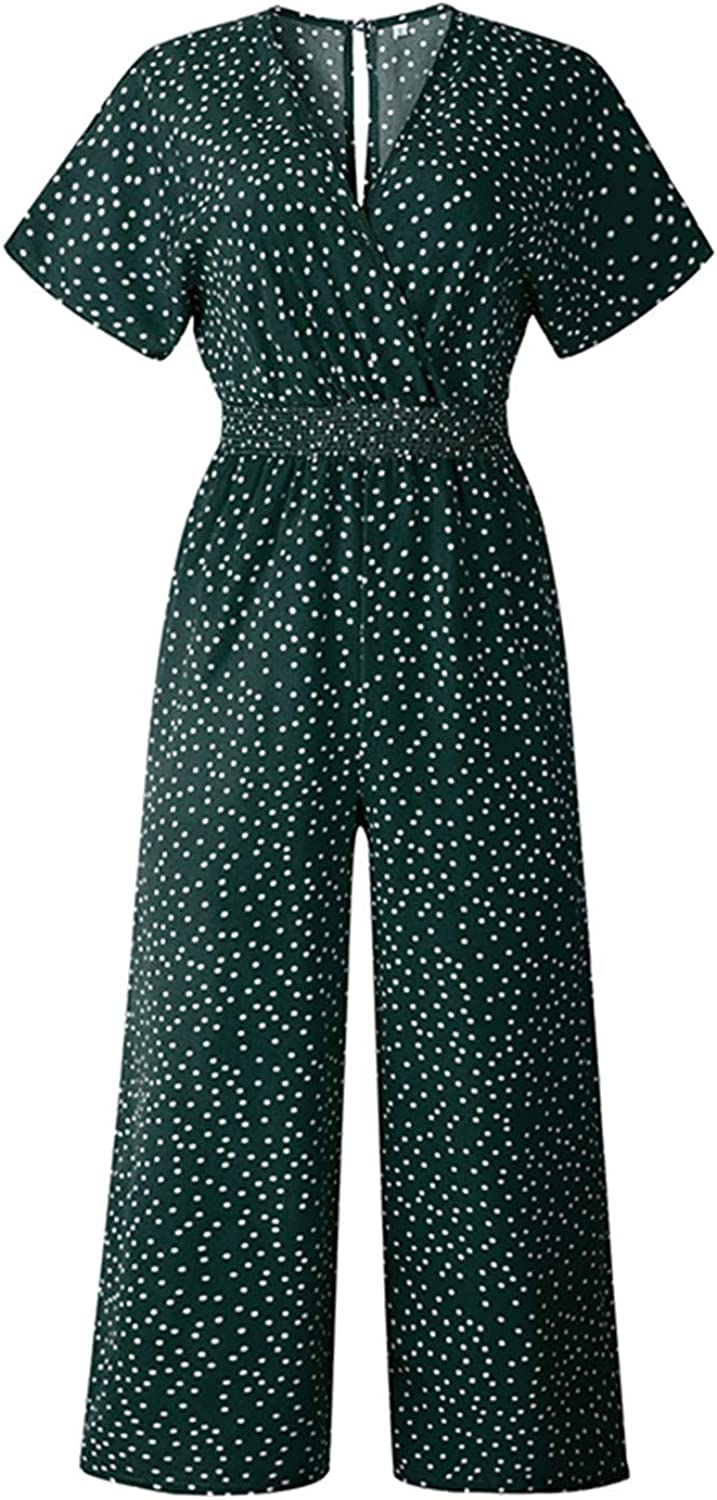Anewsex Jumpsuits Long Playsuits Short Sleeve V-Neck Elastic Waist Loose Wine Leg Pants Vintage Dot Printed