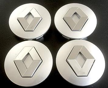 x4 Alta Calidad Renault 57 mm aleación Rueda Badge Plata Cromo Logo Emblema Llantas Mediados Buje