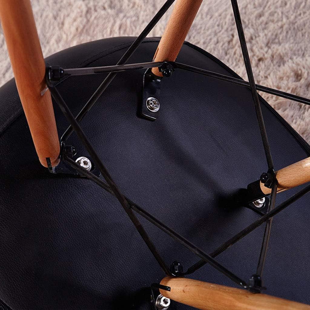 KMMK Accueil Chaise Tabouret Chaise pliante-Chaises en bois Chaises en bois de style Eiffel et siège rembourré confortable Cuisine de bureau,blanc, Noir