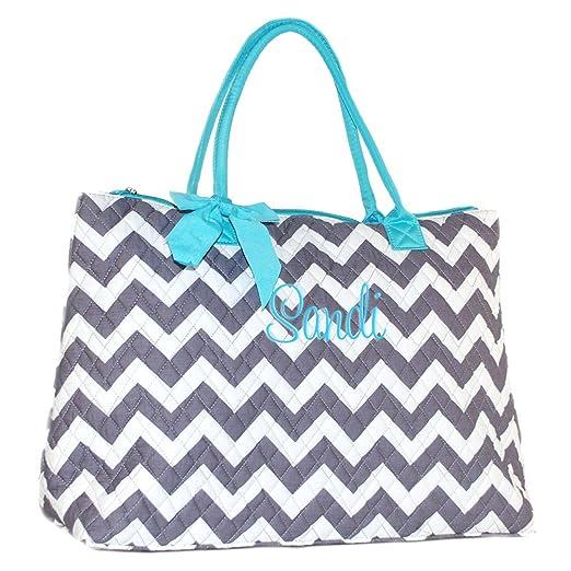 Amazon.com  Personalized Quilted Chevron Chevron with Aqua Trim Tote Bag   Clothing 95d6b0a32b5f9