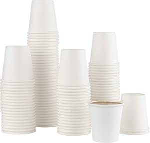 [100 PACK COFFEE CUPS] 3 ounce Disposable Paper Hot Cups - Coffee Cup, Bathroom, Espresso, Mouthwash Cups
