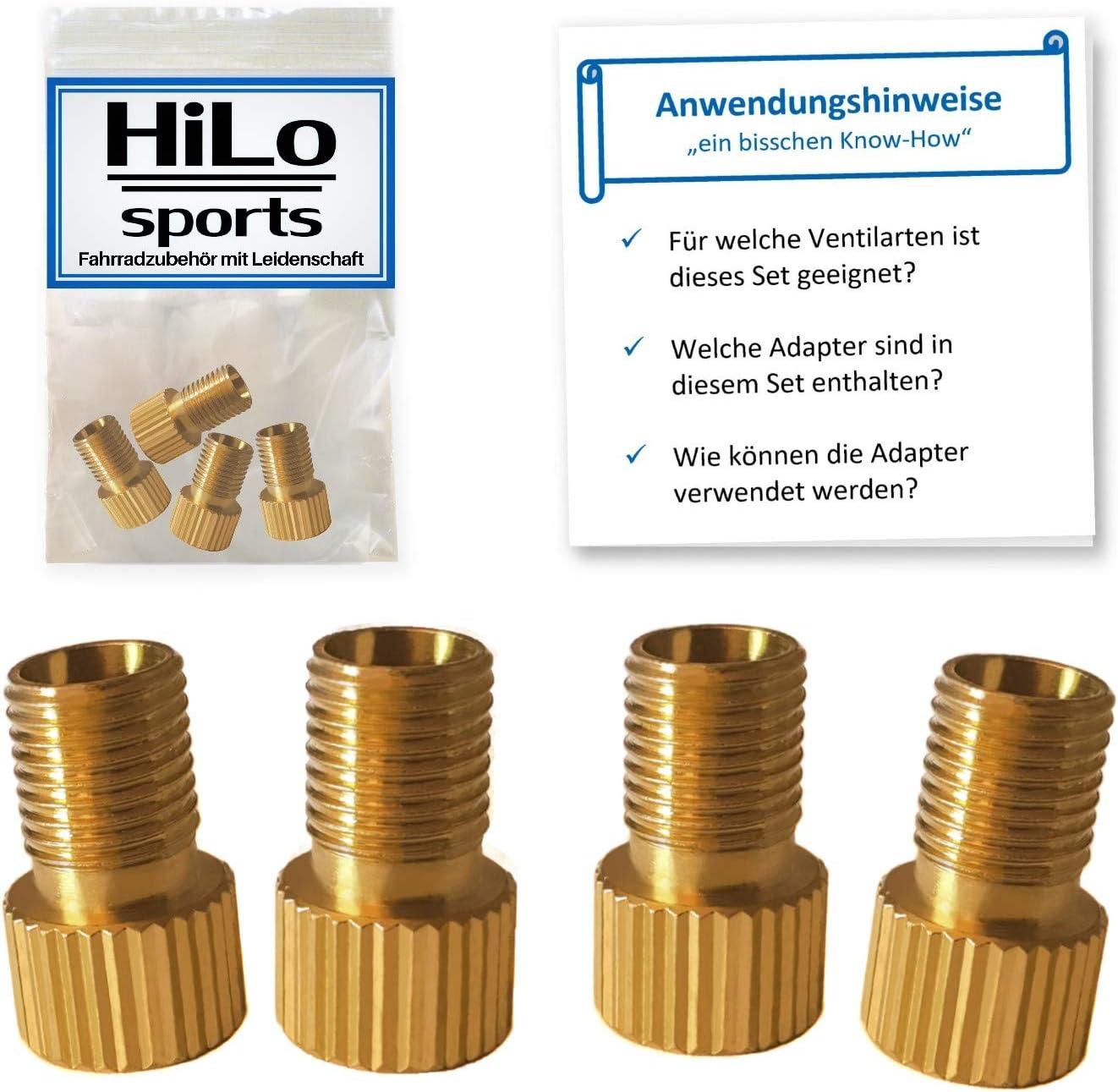 HiLo sports 4er Set Fahrrad Ventiladapter Radventil Adapter Valve Adapter Ventil Adapter f/ür DV SV Ventile Fahrradventil Adapter mit Anleitung
