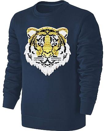 Kinder Wende Pailletten Sweatshirt Tiger Streichel Pullover Blau   Amazon.de  Bekleidung 085f03e702