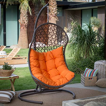 Resin Wicker Hanging Egg Swing Chair For Indoor Outdoor Patio Backyard Stylish Comfortable Relaxing With Cushion And Stand Brown
