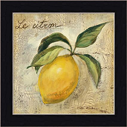 Le Citron Lemon By Silvia Vassileva Contemporary Kitchen Wall Art Print Framed  Décor