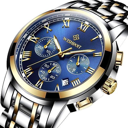 Relojes Hombre Acero Inoxidable Impermeable Deportes analógico de Cuarzo Hombres Reloj Moda Negocios de Lujo Cronógrafo Calendario Esfera Azul Relojes ...