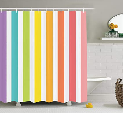 Ambesonne Modern Decor Shower Curtain By Circus Theme Rainbow Colored Image Bold Stripes With Blank