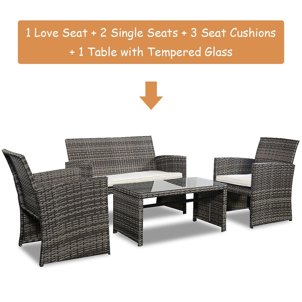 Goplus 4 PC Rattan Patio Furniture Set Garden Lawn Sofa Cushioned Seat Wicker Sofa (Mix Gray) by Goplus (Image #8)
