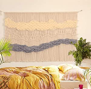 "Flber Macrame Wall Hanging Handwoven Large Curtain Home Décor, 52""Wx40""L"