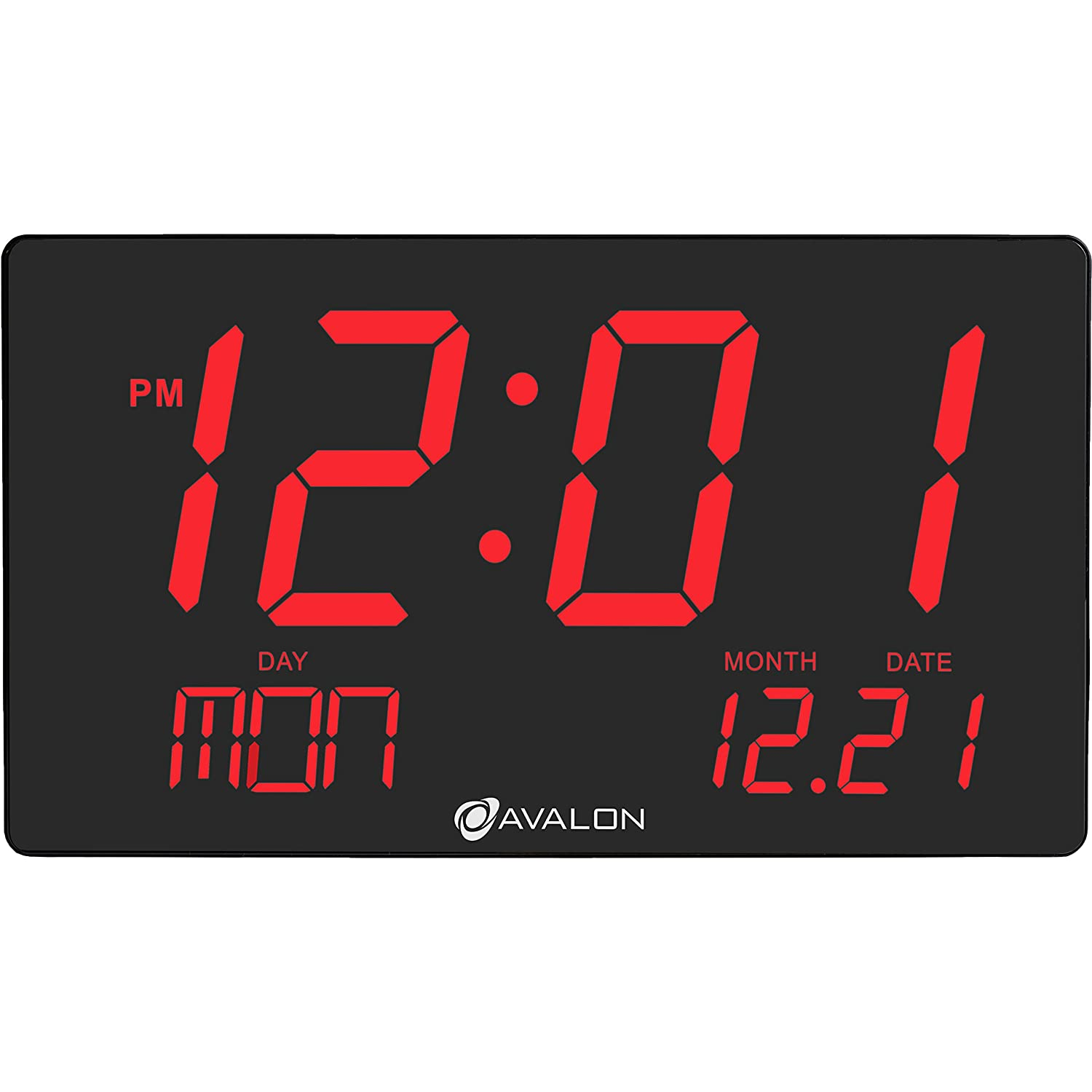 Amazon avalon oversized led digital clock extra large amazon avalon oversized led digital clock extra large display easy to read 3 inch digits sleek design wall shelf clock for home or office use amipublicfo Images
