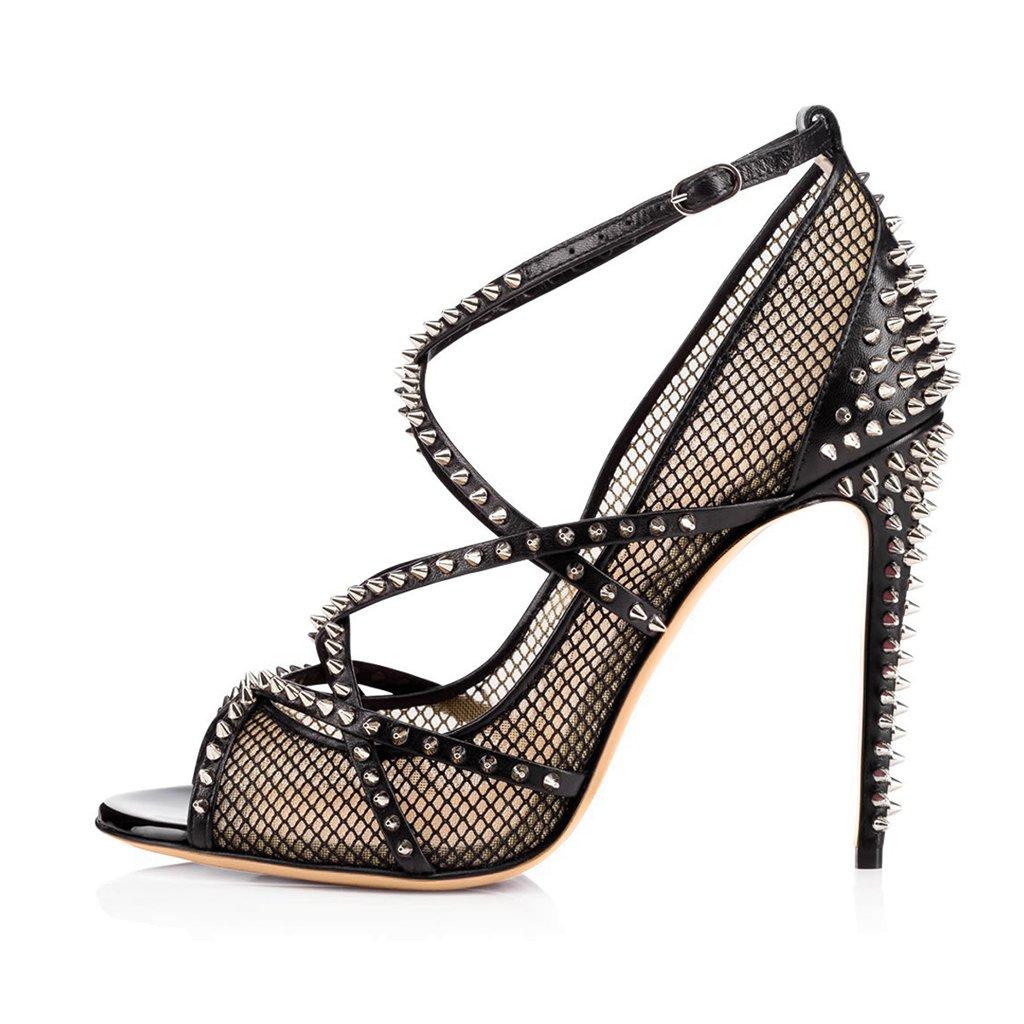 LYY.YY Las Mujeres Negras Atractivas Remaches De Tacón Alto Sandalias Señoras Zapatos De Boca De Pescado Desnudo Correa para El Tobillo (Altura del Tacón: 11-13Cm),Black,46 46|Black