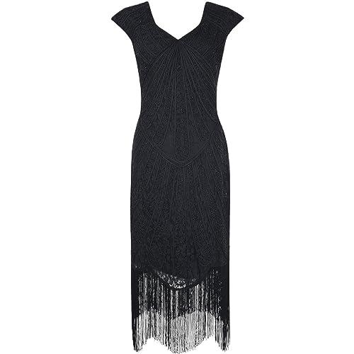 Kayamiya Womens Retro 1920s Inspired Beaded Art Deco Fringe Lace Flapper Dress