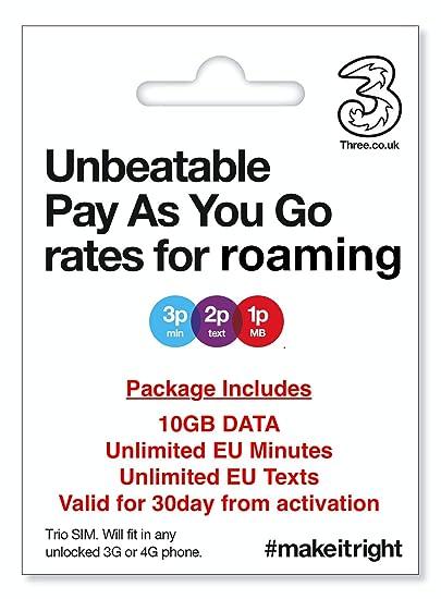 Amazon.com: SIM de vacaciones europea (UK Three) con datos ...