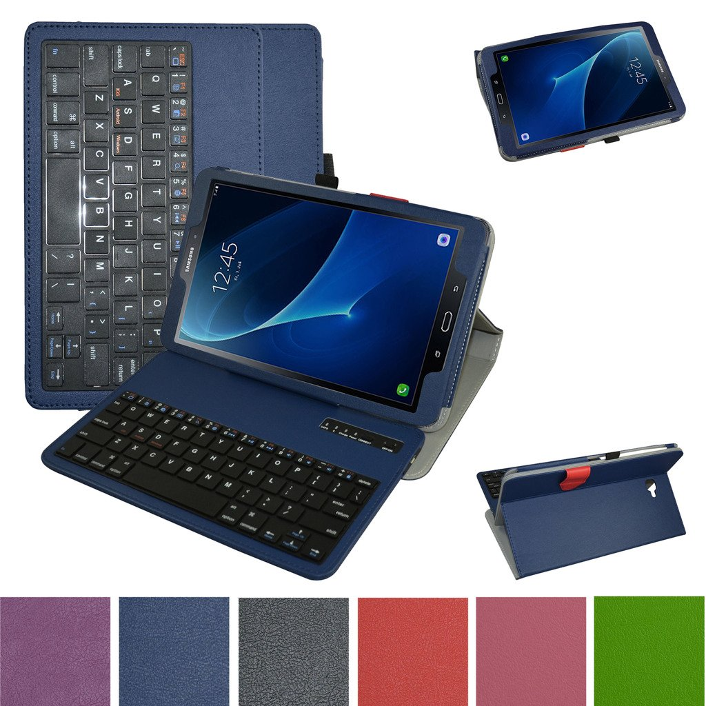 TAB A 10.1 2016 Bluetooth Keyboard Case,Mama Mouth Coustom Design Slim Stand PU Leather Cover with Romovable Bluetooth Keyboard for Samsung Galaxy TAB A 10.1 T580 T585 Android Tablet 2016,Blue