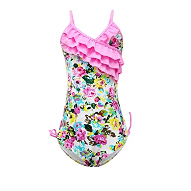 e32ba7376e qyqkfly Girls One Piece Adjustable Bathing Suit Modest Ruffle Swimwear  Beach Accompany 2Y-10Y Swimsuit