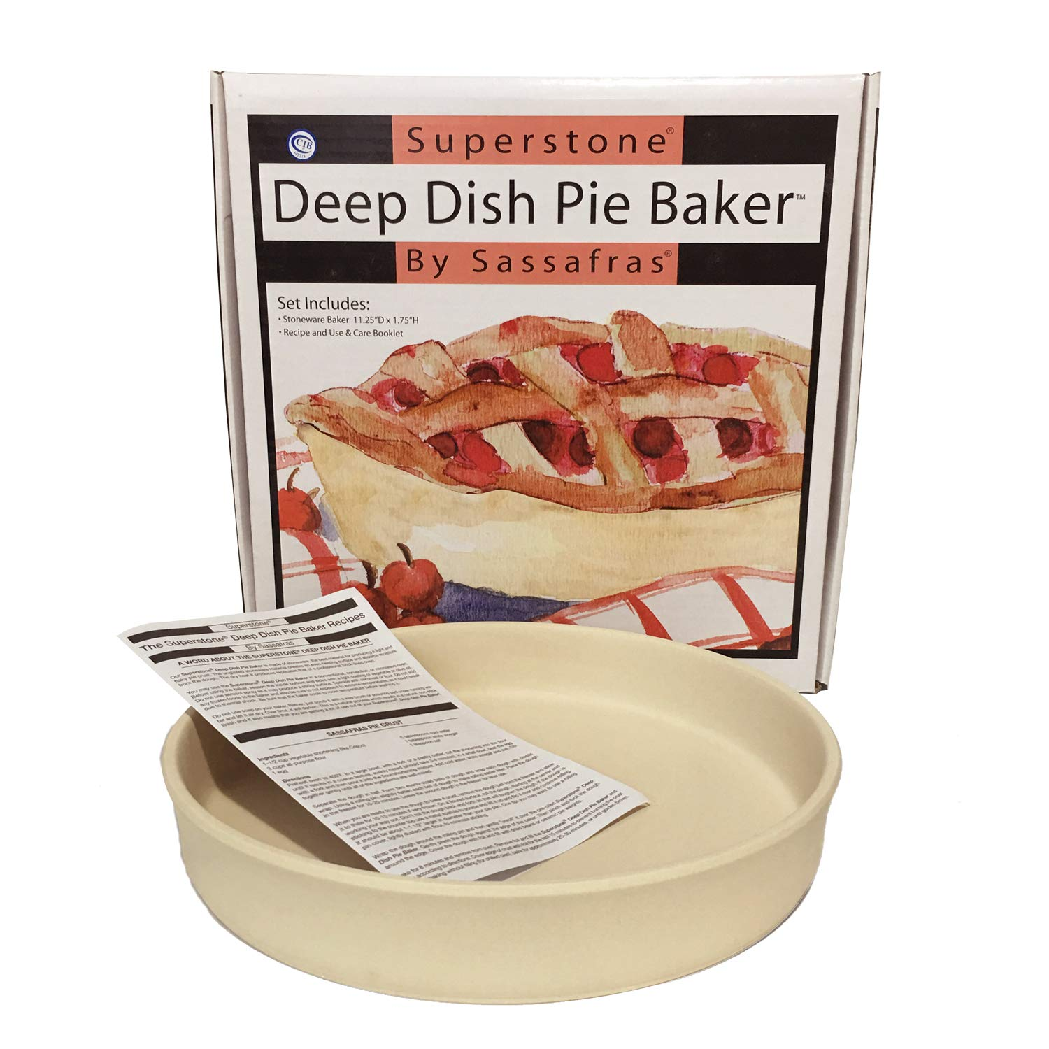 Sassafras SuperStone Deep Dish Pizza/Pie Baker,Natural