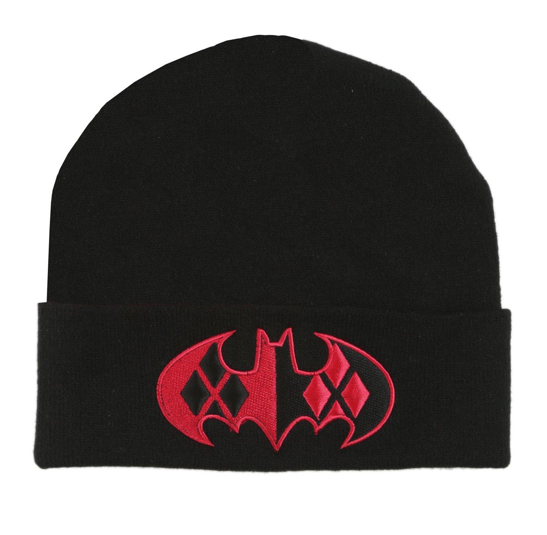 e387bc2beba Amazon.com  DC Comics Harley Quinn Bat Logo Cuff Beanie Hat  Sports    Outdoors