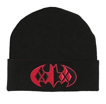 827327fa41e Amazon.com  DC Comics Harley Quinn Bat Logo Cuff Beanie Hat  Sports    Outdoors