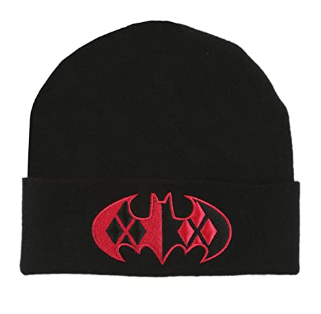 9b4b5a8c885 Image Unavailable. Image not available for. Color  DC Comics Harley Quinn  Bat Logo Cuff Beanie Hat