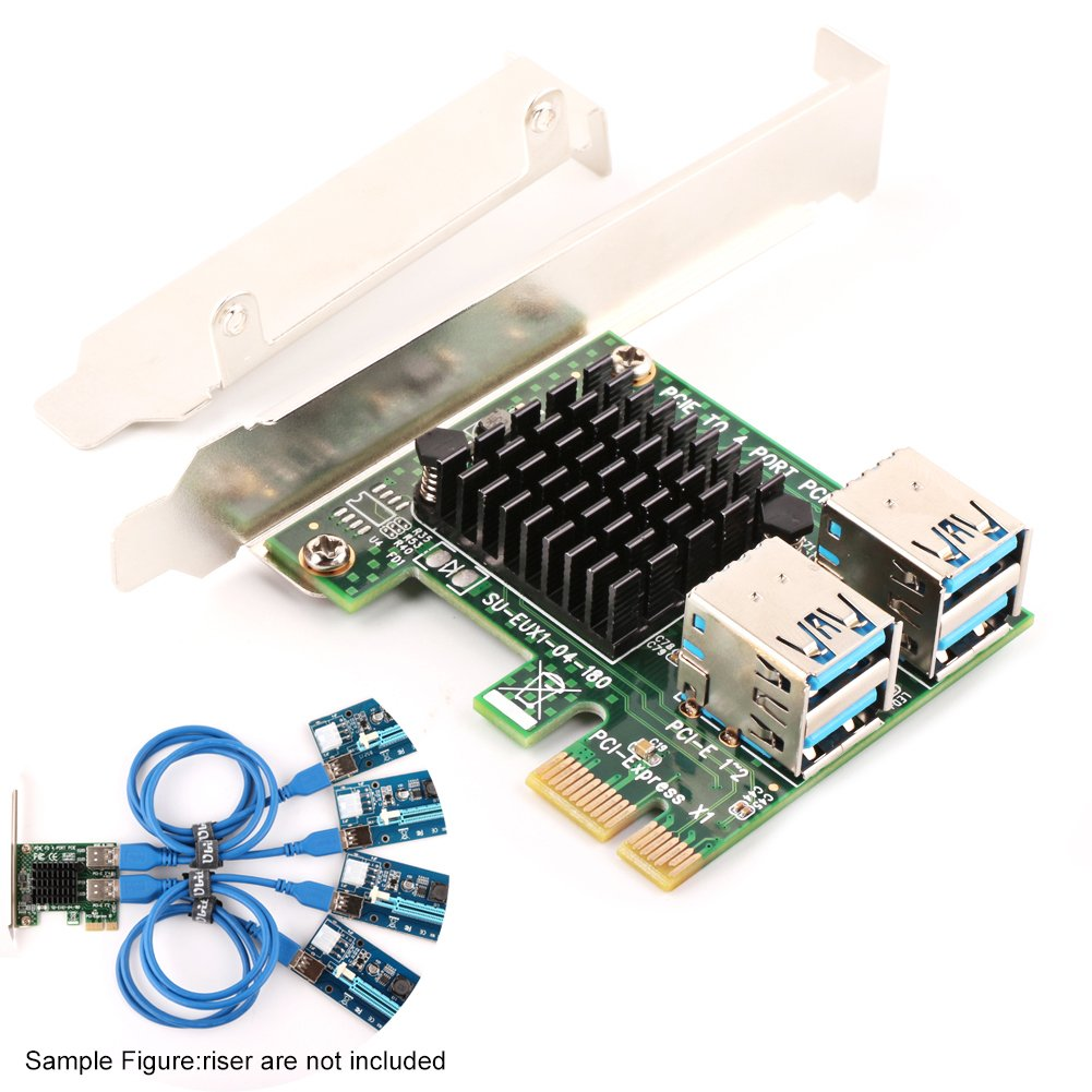 Ubit 4 in 1 PCI-E Riser Splitter Adapter Board PCI-E 1x to 4 USB 3.0 PCI-E Rabbet GPU Riser Extender - Ethereum/Moner/Zcash/Bitcoin Miner Mining (4 in 1)