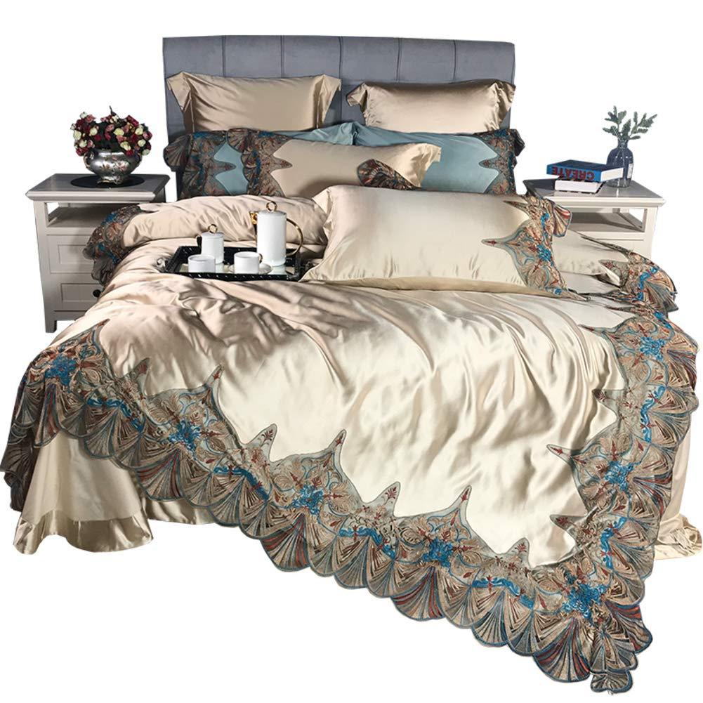 フランスのスタイル 120 綿サテン レース クラシック 寝具セット, 4 個セット 寝具カバーセット 長繊維綿羊木綿 高級 金 ブルー 欧州 寝具-A B07PRXHGQT