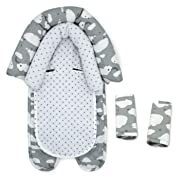 GO by Goldbug Clouds Duo Car Seat Head Support and Strap Set - Gray/White