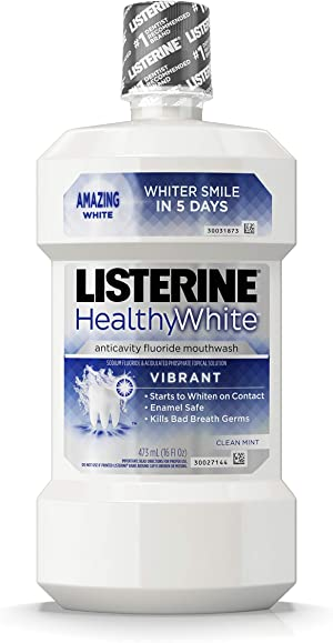 Listerine Healthy White Vibrant Multi-Action Fluoride Mouthwash, Foaming Anticavity Oral Mouth Rinse For Whitening Teeth & Fighting Bad Breath, Enamel-Safe, Clean Mint Flavor, 16 fl. oz