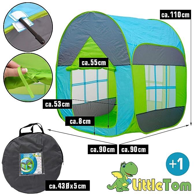 LittleTom Tienda de campaña Juguete para niños 90x90x110cm Piscina de Bolas Azul