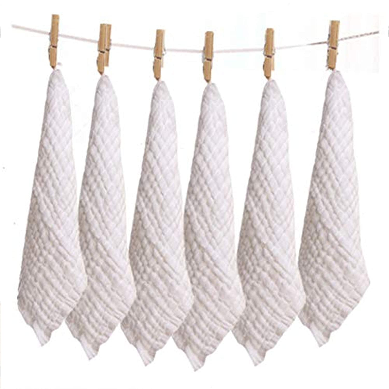 Organic Cotton Baby Washcloth 6パック、10インチ10、