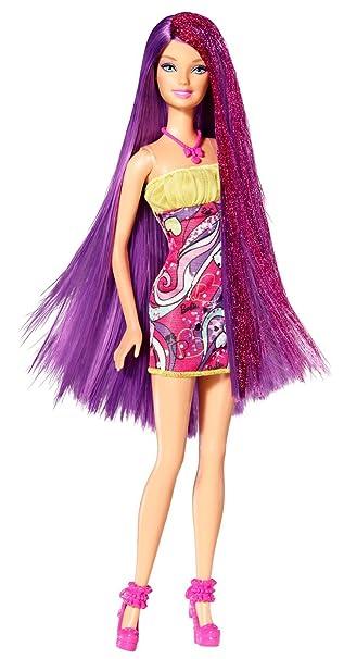 Amazoncom Barbie Hairtastic Salon Barbie Doll Purple Hair - Hairstyle barbie doll
