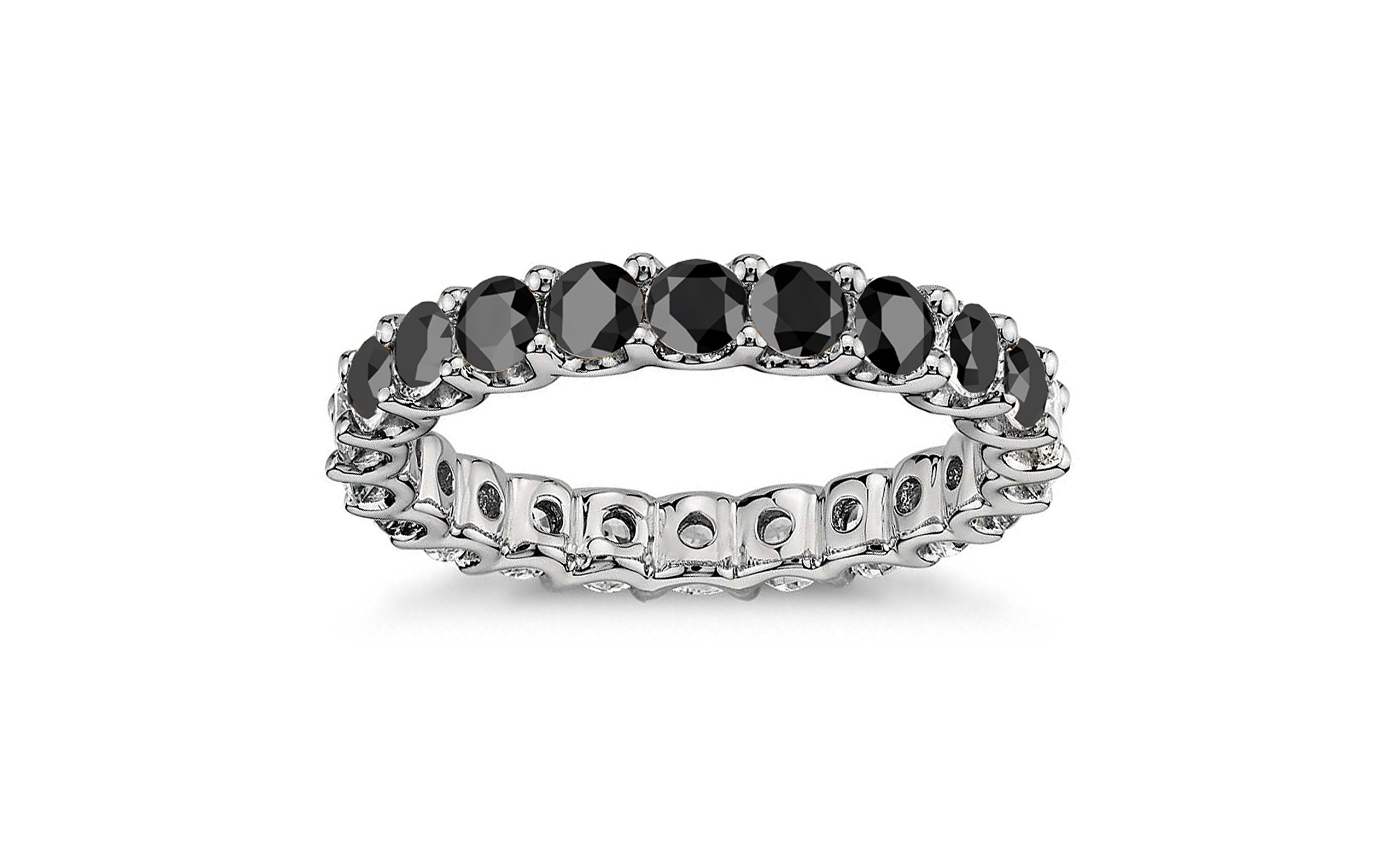 3.50mm Sterling Silver Black Cubic Zirconia Luxury Eternity Band (7)