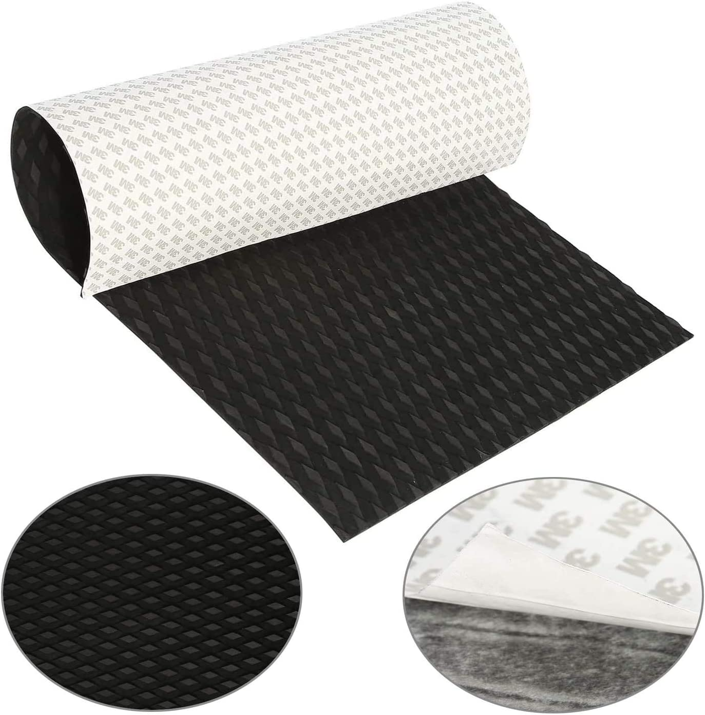 """NovelBee 40"""" x 20"""" x 0.22"""" Universal DIY Traction Non-Slip Grip Mat Pad with Trimmable EVA Sheet for Boat Decks,Kayak,Surfboard (Black)"""