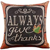"LINKWELL 18""x18"" Shabby Chic American Style Ikat Happy Thanksgiving Day Burlap Cushion Covers Pillow Case"
