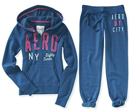 125f5eaa66111 Aeropostale Women s Hoodie and Sweat Pants Set Aero Logo Jogging Suit  X-Small Teal