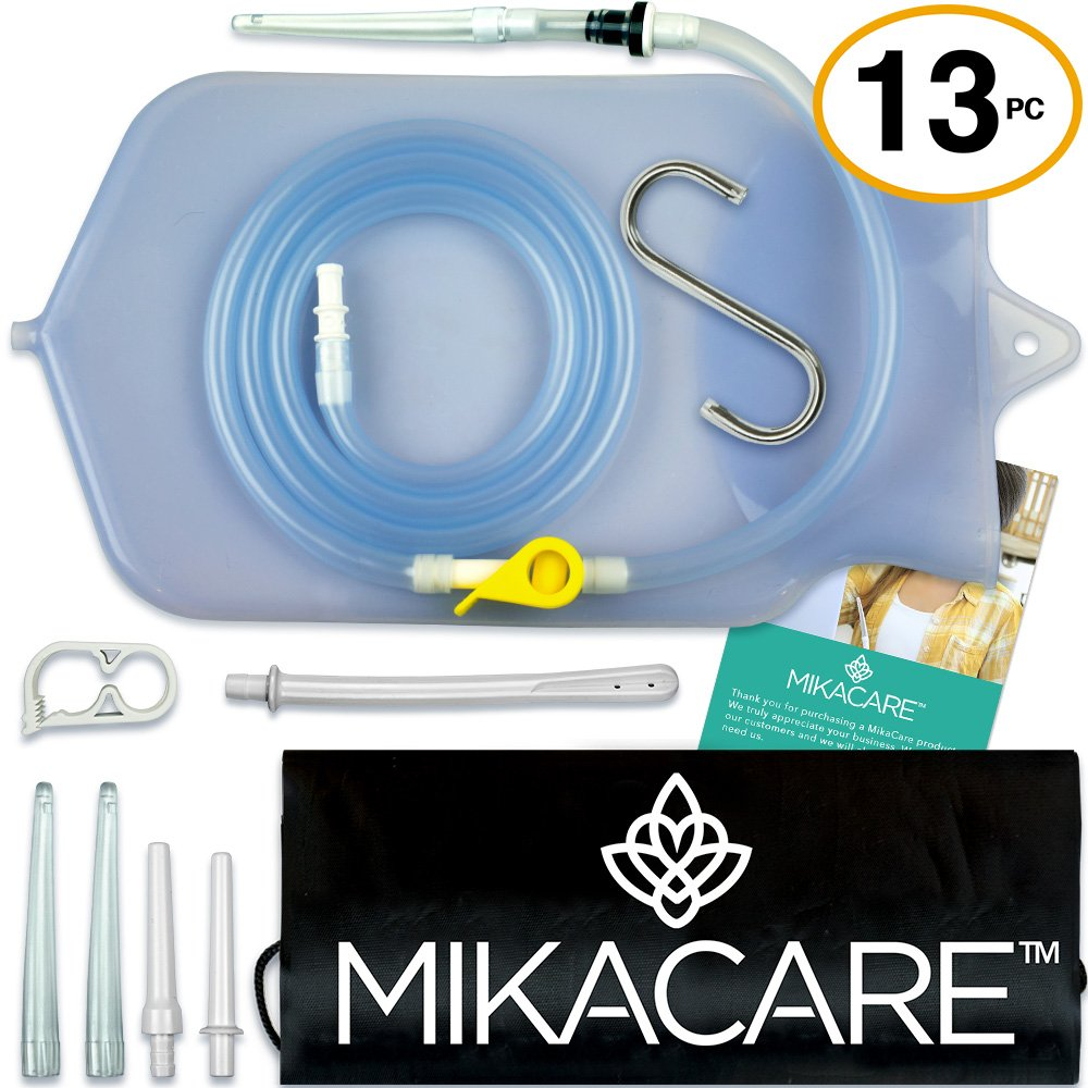 Mikacare Enema Bag Kit Clear Non-Toxic Silicone. for Coffee and Water Colon Cleanse. 2 Quart, 6 Foot Long Hose, BPA and Phthalates Free, 6 Tips by Mikacare